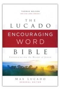 Lucado Encouraging Word Bible NKJV  Comfort Print, Cloth over Board, Gray -