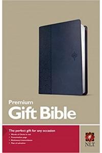 Premium Gift Bible NLT, blue cross, leatherLike -
