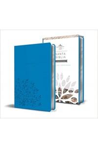 Biblia RVR 1960 - Tamaño manual, letra grande, cuero de imitación, color azul -  - RVR 1960- Reina Valera 1960,
