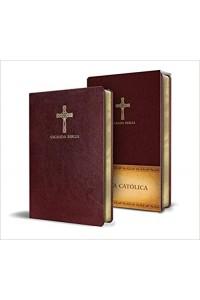 Biblia Católica en español. Símil piel vinotinto, compacta -