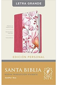 Biblia NTV, Edición personal, letra grande tamaño manual senti piel rosa, indice. -