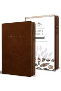 Biblia Reina Valera 1960 letra grande Símil piel canela, cremallera, tamaño manual  -