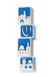 Mezuza Jerusalem azul -