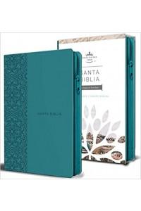 Biblia Reina Valera 1960 letra grande Tam. Manual, Simil Piel Aqua, cierre -