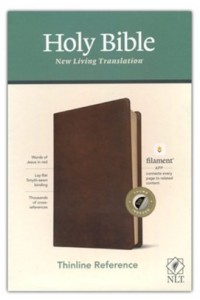 NLT Thinline Reference Bible, Filament Enabled Edition soft leather look, rustic brown indexed -