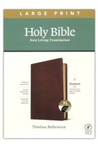 NLT Large Print Thinline Reference Bible, Filament Enabled Edition soft leather look, rustic brown indexed -