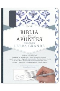 Biblia de Apuntes  NVI blanco y azul símil piel -