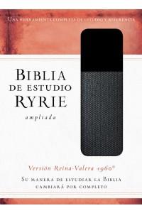 Biblia de estudio Ryrie ampliada RVR60 - Duo-tono negro con índice  -