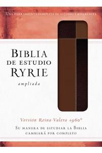 Biblia de estudio Ryrie ampliada RVR60 - Duo-tono marrón con índice  -