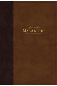 Biblia de Estudio MacArthur, NBLA  Leathersoft, Café, Interior a dos colores, con Índice -  - MacArthur, John F.