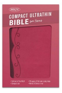 NKJV Compact Ultrathin Bible for Teens, Fuchsia LeatherTouch -