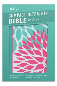 NKJV Compact Ultrathin Bible for Teens, Green Blossoms LeatherTouch -
