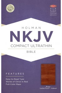 NKJV Compact Ultrathin Bible, Brown Cross LeatherTouch, Indexed Imitation Leather -