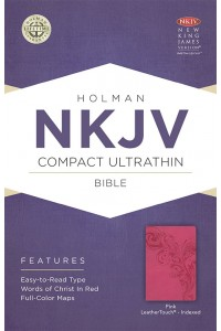 NKJV Compact Ultrathin Bible, Pink LeatherTouch, Indexed Imitation Leather -