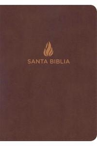 Biblia RVR 1960 Letra Gigante marrón, piel fabricada con índice -