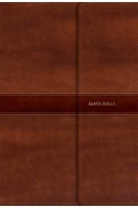 RVR 1960 Biblia Letra Súper Gigante marrón, símil piel con índice y solapa con imán -