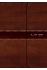NVI Biblia Letra Grande Tamaño Manual, marrón símil piel con índice y solapa con imán -
