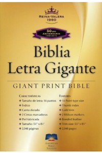 Biblia Letra Gigante RVR 1960, Piel Fabricada Negra, Indice