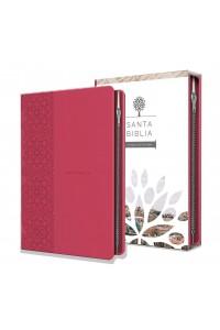 Biblia RVR 1960 - Tamaño manual, letra grande, cuero de imitación, color fucsia, con cremallera -  - RVR 1960- Reina Valera 1960,