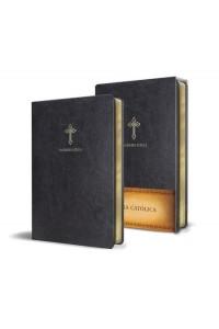 Biblia Católica en español. Símil piel negro, tamaño compacta -
