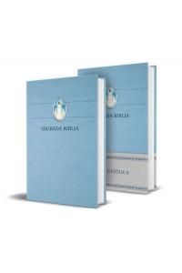 Biblia Católica en español. Tapa dura azul, con Imagen, tamaño compacta -