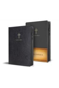 Biblia Católica en español. Símil piel negro, con cierre, tamaño compacta -