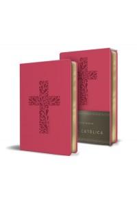 Biblia Católica en español. Símil piel fucsia, tamaño compacta -