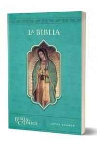 Biblia Católica, edición letra grande, rústica, azul, con imagen. -