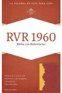 RVR 1960 Biblia con Referencias, ámbar/rojo ladrillo símil piel -