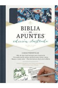 RVR 1960 Biblia de Apuntes, edición ilustrada, tela en rosado y azul -