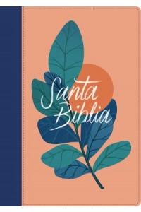 Biblia  letra grande RVR60, Edición zíper con referencias, Letra Roja, Senti  Piel,Coral/Azul -  - Tyndale Bible